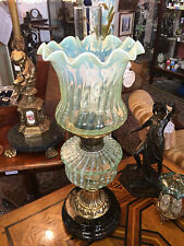 Victorian Yellow Vaseline Oil Lamp On Brass Stand & Porcelain Foot
