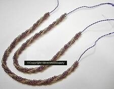3 Strand seed bead unfinished twisted bracelets purple ab silver 2-7 inch k010