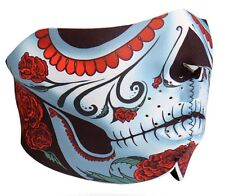 Sugar Skull Muerte Half Neoprene Face Mask Biker Ski Paintball Costume Calavera