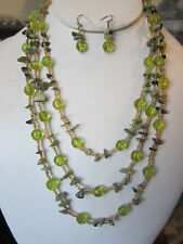 Three Layers Green Faceted Glass Bead Stone Chips Necklace Earring Set