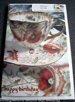 New BIRTHDAY CARD w original image of vintage Aynsley tea set w poppies design
