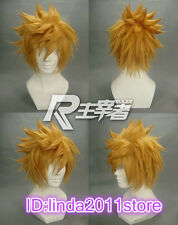 Kingdom Hearts Roxas Short Flip Out Golden Blonde Cosplay Wig + free wig cap