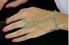 Harness Bracelet  linking ring Turquoise Chain Bracelet & ring Amour