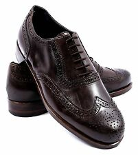 New BERLUTI Brown Leather Brouge Oxford Wingtip Shoes Size 7.5 $2200