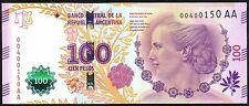 ARGENTINA NEW DESIGN NOTE 100 PESOS EVA PERON (2016) SERIAL AA VANOLI-BOUDOU UNC