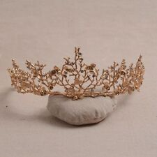 """Nature"" vintage gold effect Tiara party wedding rhinestone twigs, dragonfly"