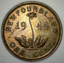 1944 C Canada Newfoundland 1 Cent Brown Uncirculated Copper Coin RARE 1944C