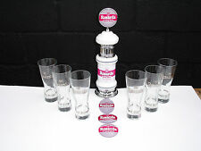new belgian rosada  beer/ale pump, hand pull, bar font.6 beer glasses 3 badges