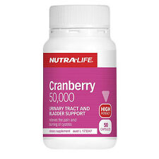 Nutra-Life Cranberry 50,000 helps maintain bladder+urinary tract health 50 caps
