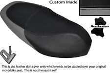BLACK & GREY CUSTOM FITS PIAGGIO TYPHOON 125 50 11-13 DUAL LEATHER SEAT COVER
