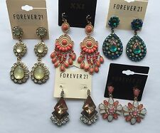 NWT Wholesale G lot 5 pairs Forever 21 rhinestone teardrop chandelier earrings