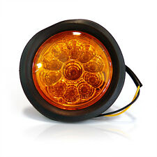 "(2) Trailer Truck Amber LED Flush Mount 4"" Round Stop Turn Tail Light Sealed 12V"