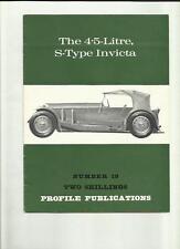 THE 4.5-LITRE S-TYPE INVICTA  PROFILE PUBLICATIONS BOOK