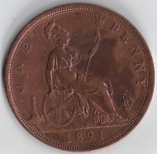 GB - UK 1891 Victoria Bronze Bun Head 1d Penny Extra Fine