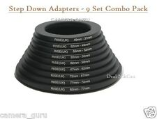 9 pieces Step Down Lens Filter Ring Adapter Set Pack