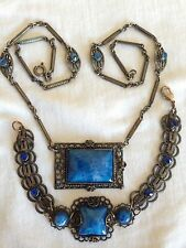 Vintage Art Deco Blue Czech Art Glass Necklace Bracelet Set Beautiful Color!