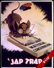 UNITED STATES RAT TRAP ANTI WWII JAPAN PROPAGANDA POSTER REAL CANVAS ART PRINT