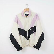 Vintage ASICS White Pink Shellsuit Jacket | Retro Wavey Urban Festival | Large L