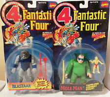 FANTASTIC FOUR : BLASTAAR & MOLE MAN CARDED ACTION FIGURES BY TOY BIZ