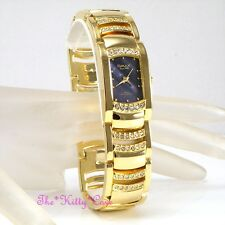 OMAX Seiko Movt Gold PL Blue Rainbow MOP Dress Watch w/ Swarovski Crystal JES610
