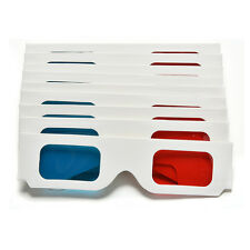 10pcs Universal Anaglyph Cardboard Paper Red Blue Cyan 3D Glasses For Movie EV