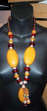 massive tribal ethnic style long necklace horn resin metal egg yolk