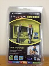 Xtreme Micro HDMI to HDMI 3 Foot High Speed Cable With 24K Gold Model  #74203