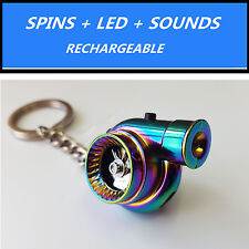 LED Electric Spinning Turbo Turbine Key Chain Keychain Ring w/ Sound -Neo Chrome