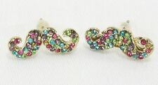 "Bejeweled crystal mustache post stud earrings gold multi earrings .75"" wide"