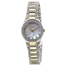 Bulova 98L198 Lady's Two Tone Steel White MOP Dial Crystal Watch