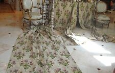 CHARMING FRENCH ANTIQUE TAPESTRY 3 PANELS DRAPES CURTAINS WONDERFUL BRIGHT COLOR