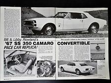 1967 SS 350 Chevrolet Camaro Convertible Pace Car Replica   - 2-Page Article