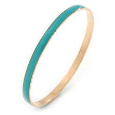 Thin Light Teal Enamel Bangle Bracelet In Gold Plating - 19cm L