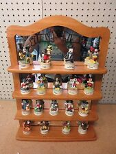 LENOX MICKEY MOUSE THIMBLES WITH SHELF & 18 FIGURINES