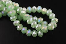 100Pcs 4x3mm Jade Green AB Faceted Glass Charms Spacer Beads Rondelle Findings
