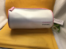 CHANEL COSMETIC  MAKE UP TRAVEL BAG / CASE  WHITE PINK ZIP