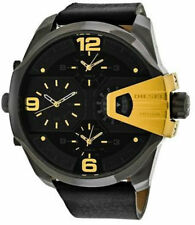 Diesel Uber Chief Black Dial Yellow Gold Steel Quartz Men Watch DZ7377 New