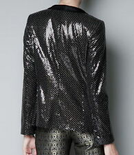 ZARA BLACK POLKA DOT SEQUIN BLAZER JACKET WITH TUXEDO COLLAR SIZE S