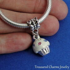Silver and Enameled VANILLA CUPCAKE Dangle Bead CHARM fits EUROPEAN Bracelet