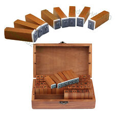 70pcs Upper Case & Symbols Alphabet Letter Number Rubber Stamp Wooden Box Craft