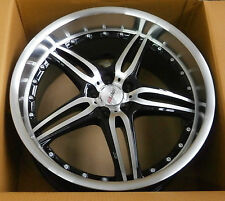 4x MOTEC ALUFELGEN black polished/steel 9.5x19 zoll / ET15 5x120 / 72.6