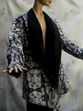 SIMON CHANG GRAY/BLACK ANIMAL PRINT LAYERS LIGHT JACKET SZ 12, L-XL