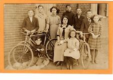 Real Photo Postcard RPPC - Woman with Children and Bicycles