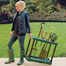 Garden Tool Storage Rack Holder On Wheels Shed Gardening Caddy