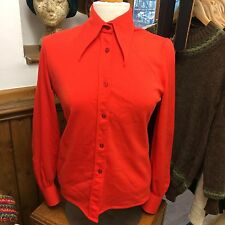 Bold Red Pippa Dee Vintage Retro 1970s Dagger Collar Shirt Size 10-12