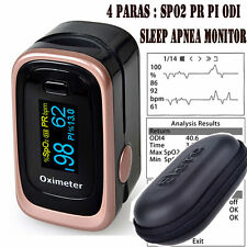 SpO2 PR PI ODI Finger Tip Pulse Oximeter + 8 Sleep Data Record Monitor + Pouch