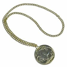 #FAKE GOLD RETRO MEDALLION ON CHAIN ADULT FANCY DRESS HIPPY PARTY ACCESSORY