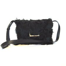 L-3289417 New Yves Saint Laurent Black Lulu Alpaca Fur Handbag