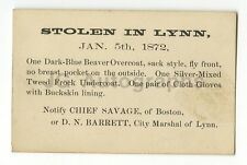 "19th Century Police Notice Card - ""Stolen Clothing"" - Lynn, MA - 1872"