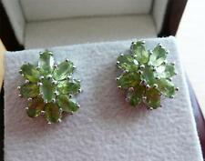 STUNNING GREEN PERIDOT 925 STERLING SILVER LARGE FLOWER STUD EARRINGS